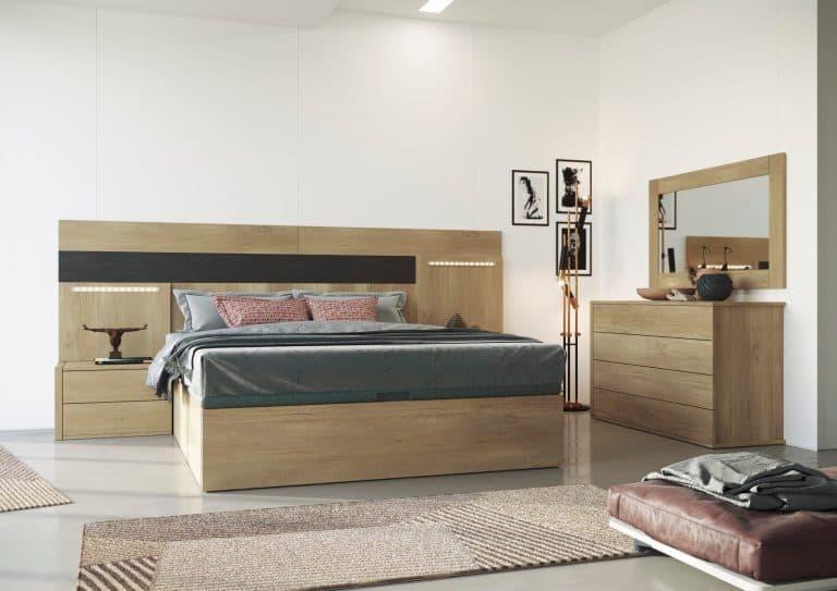 Dormitorio con leds y espejo